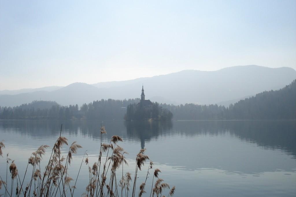 Dégradés de gris au lac Bled en Slovénie