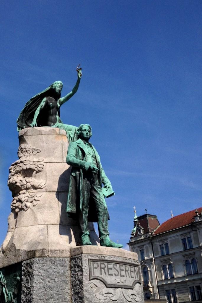Statue du poète France Prešeren à Ljubljana (Prešeren Square)