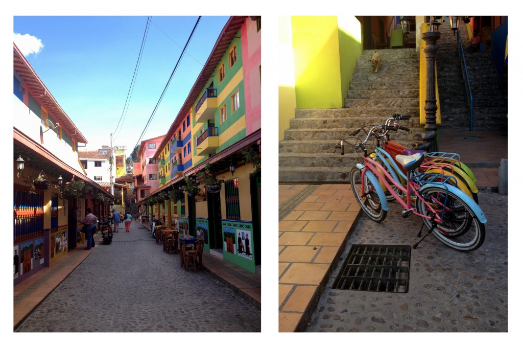 Rue de maisons colorées et vélos colorés à Guatapé Antioquia Colombie