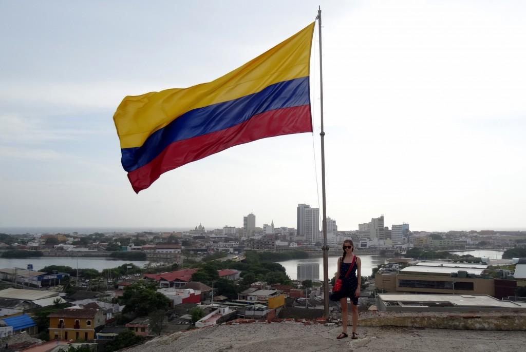 Grand drapeau de la Colombie au Castillo de San Felipe de Barajas à Carthagène des Indes
