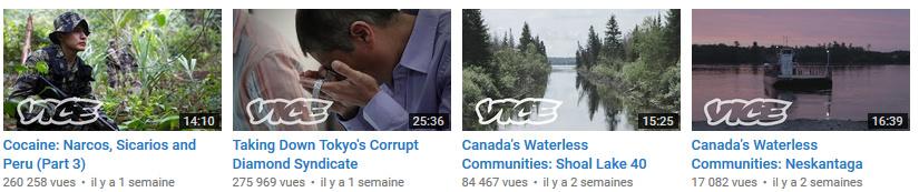 Le monde en vidéos Vice chaîne youtube