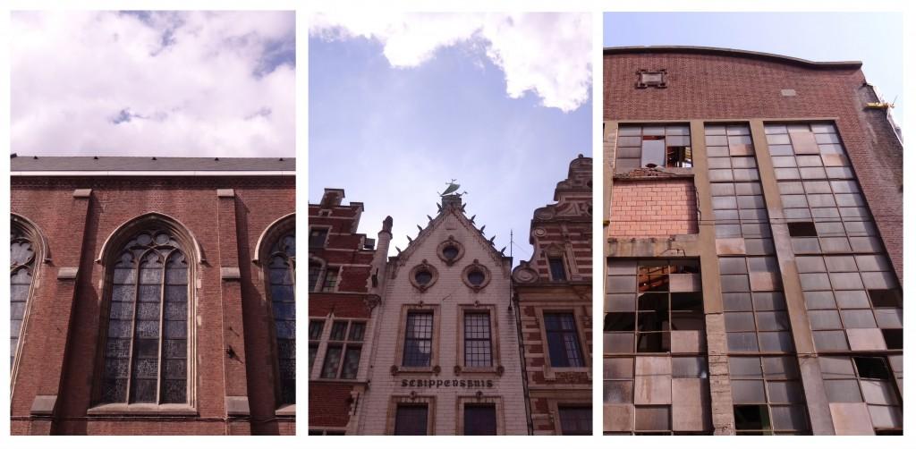 Façades de maisons, entrepôt et église à Louvain