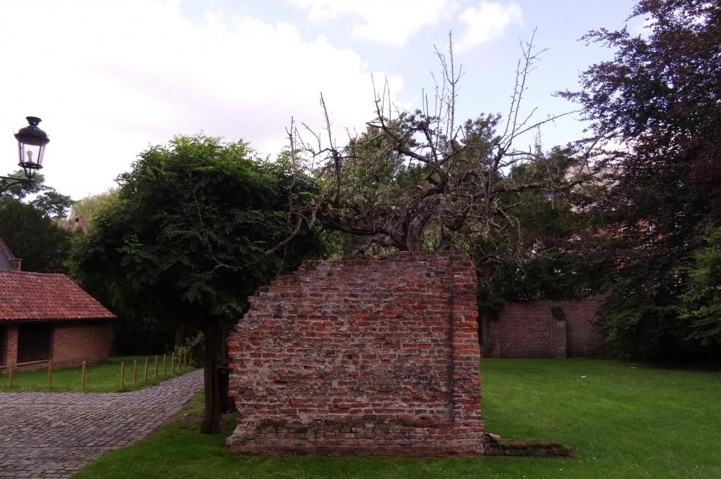 Mur cassé dans  le grand béguinage à Louvain