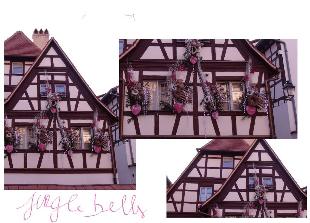 Façade en colombages et décorations de Noël à Strasbourg