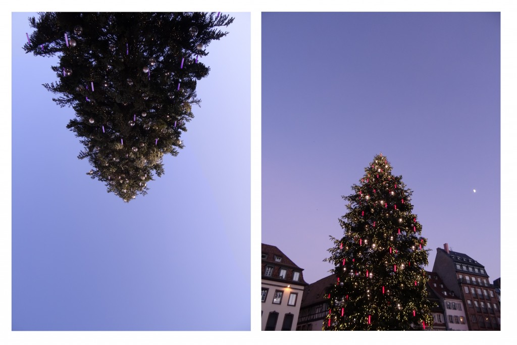 Grand sapin au marché de Noël de Strasbourg