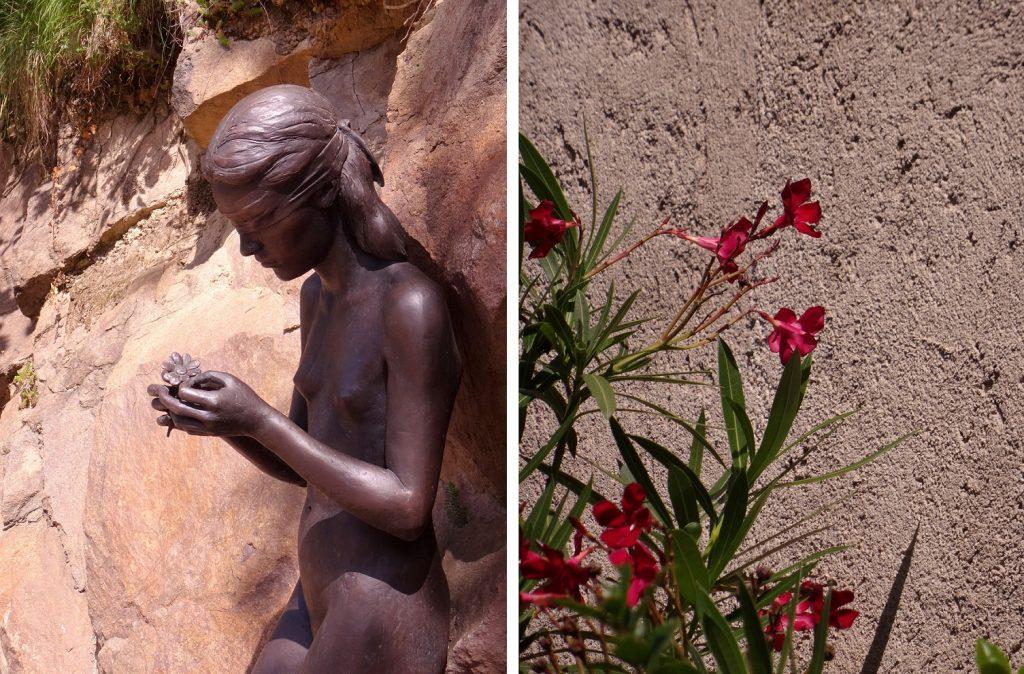 Statue d'une jeune fille dans les jardins botaniques de Trauttmansdorff