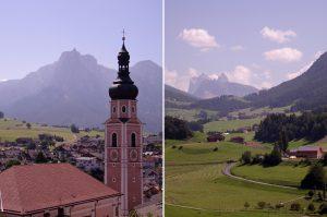 L'église de Kastelruth - Castelrotto et ses montagnes