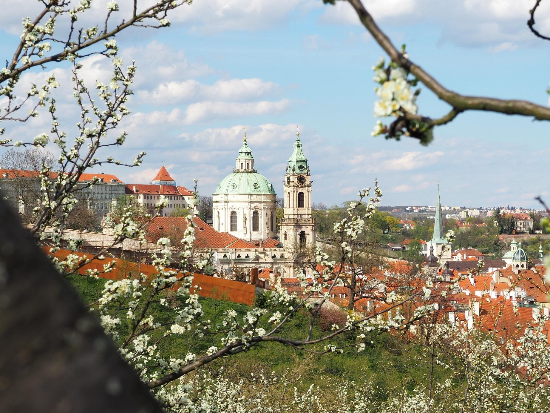 Vue sur Église Saint-Nicolas de Malá Strana depuis Petřín