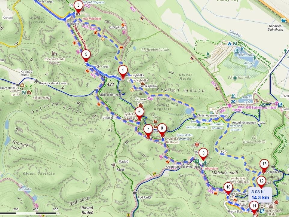 Carte du parcours emprunté pour visiter Cesky Raj